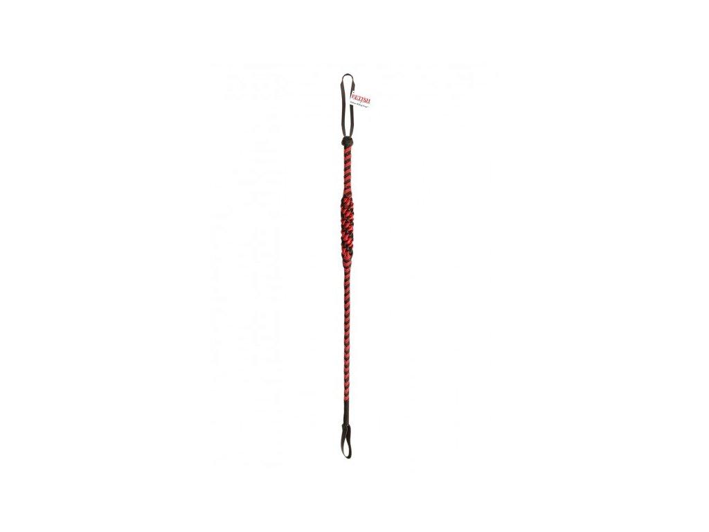 Černo-červený pletený bič dlouhý