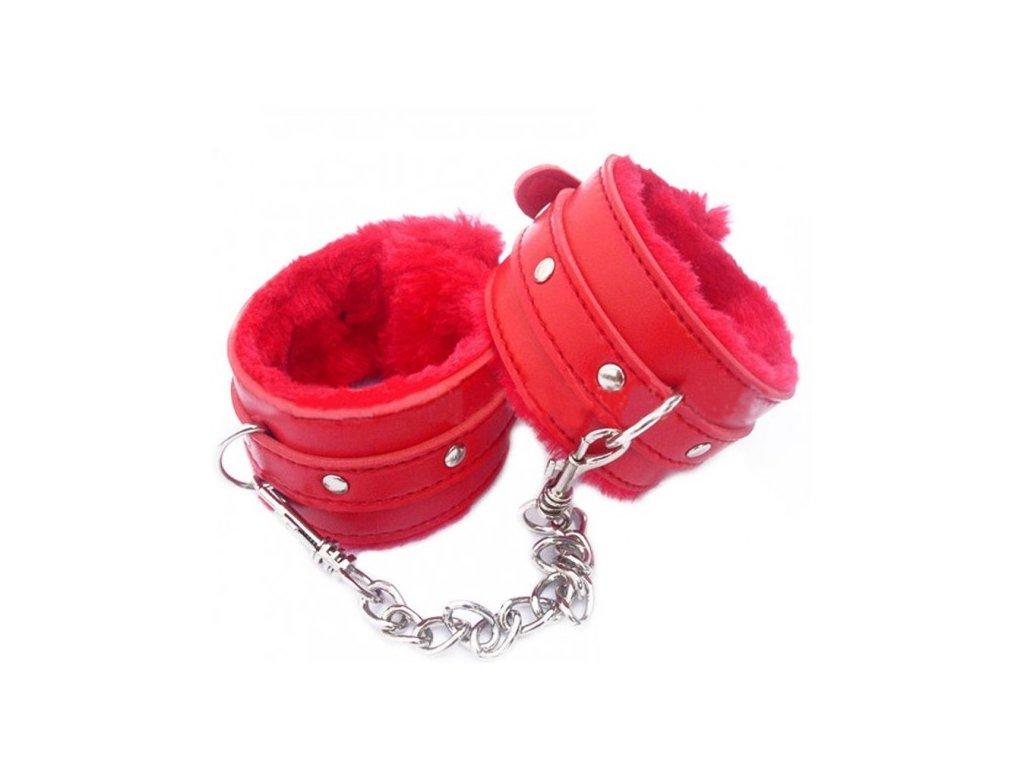 Červená pouta s kožíškem