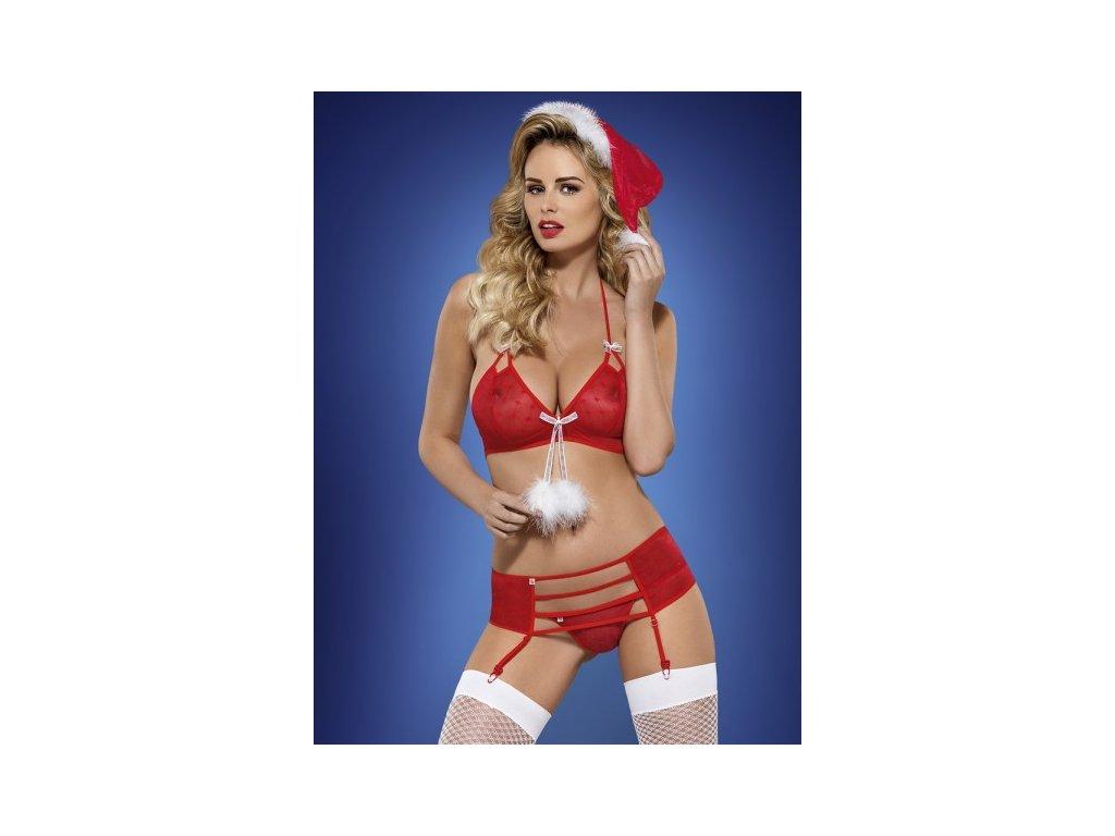 Vánoční kostým s podvazky S/M