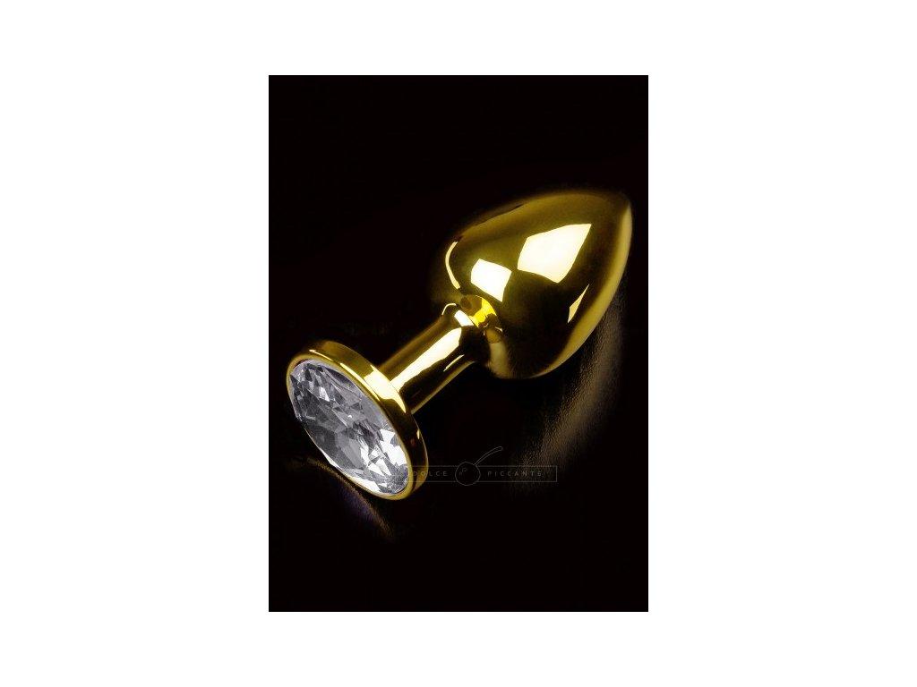 Kovový anální kolík zlatý s čirým kamenem