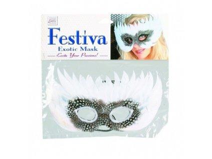 Maska festival exotic bílá