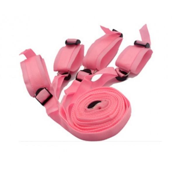 Pouta na ruce a nohy s popruhy růžové
