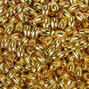 Mosazný korálek s širokým průvlekem - zlatý -  9 x 7 mm - 1 ks