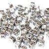 Korálky s písmenky - stříbrné kostičky - 6 x 6 x 6 mm - 50 g