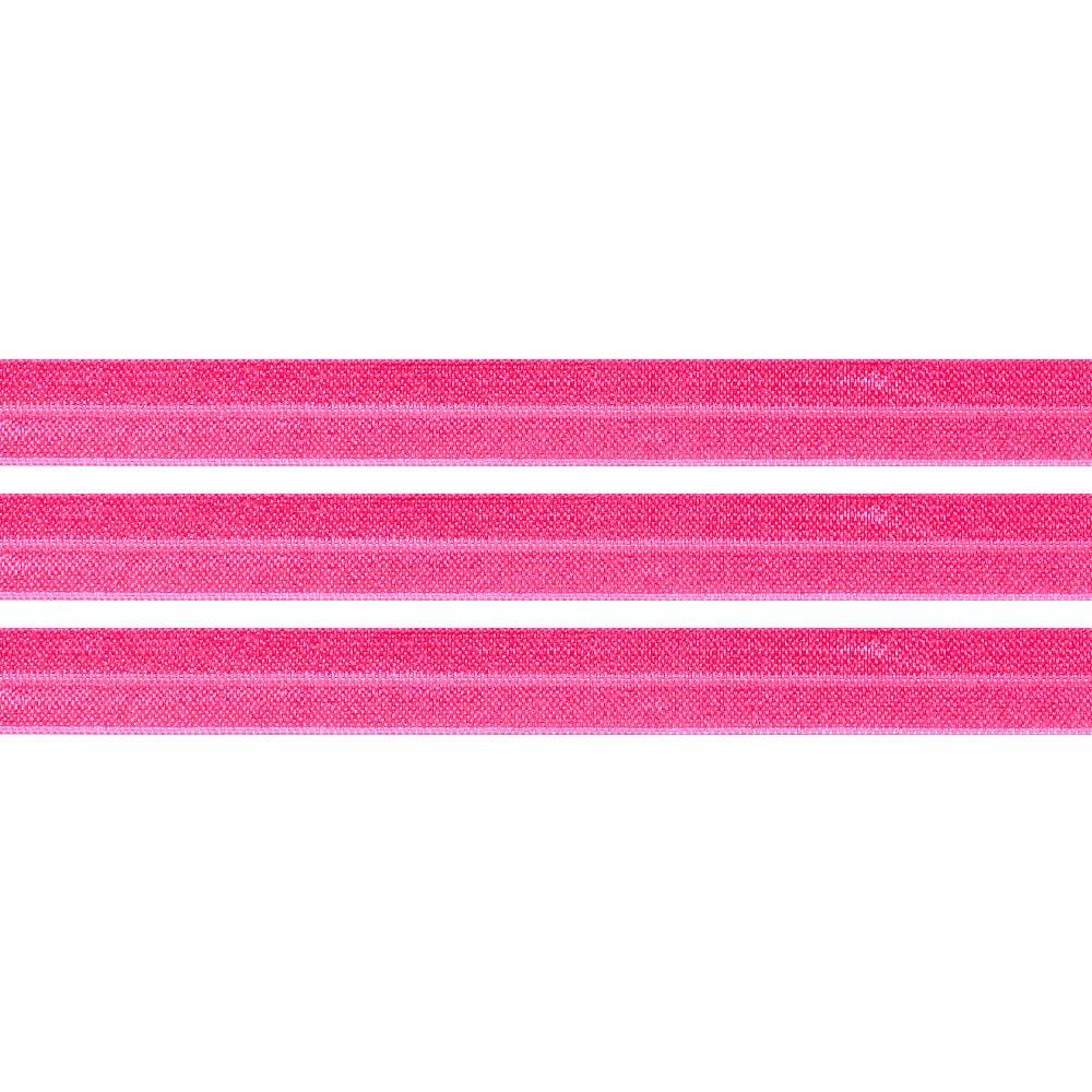Elastická stuha - zářivě růžová - 1,5 cm - 30 cm - 1 ks