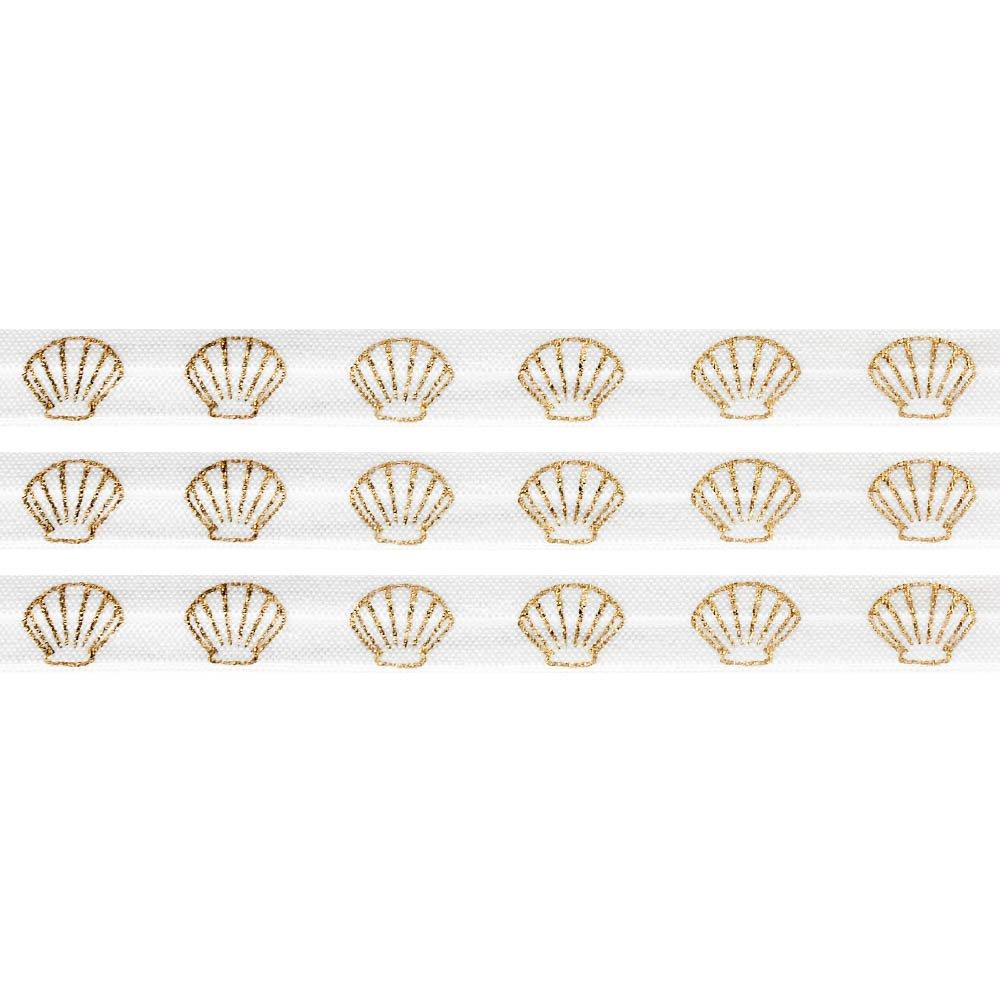 Elastická stuha - bílá - mušle - 1,5 cm - 30 cm - 1 ks