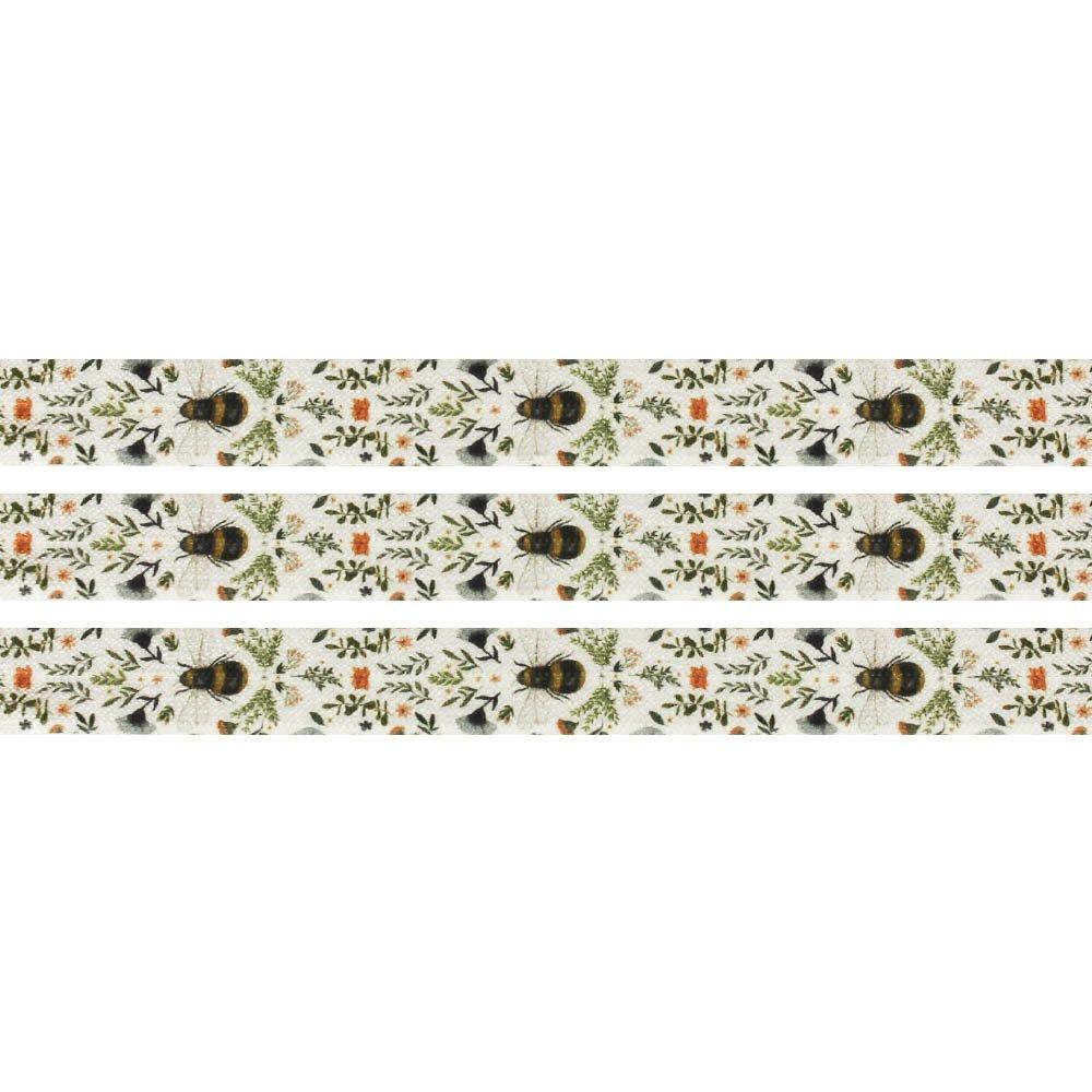 Elastická stuha - režná - čmelák na rozkvetlé louce - 1,5 cm - 30 cm - 1 ks