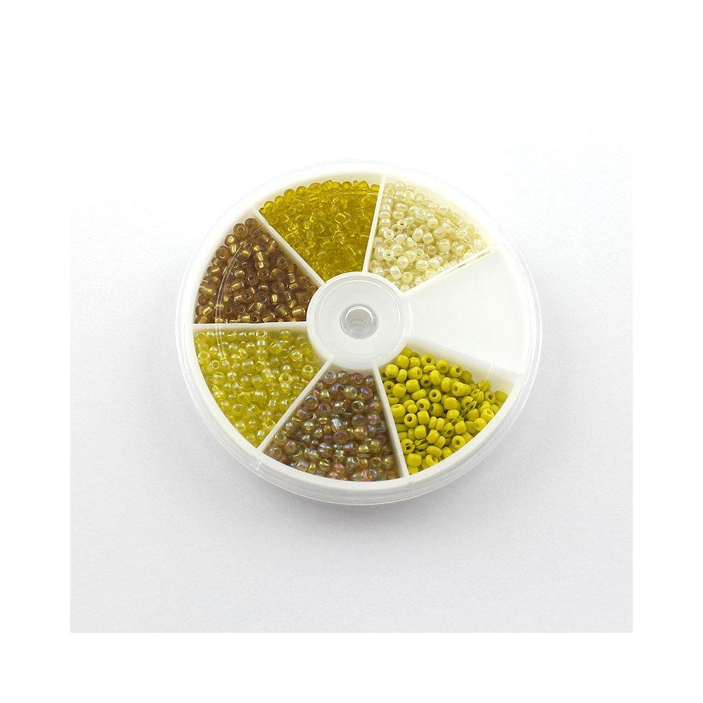 Krabička mezidílů - žlutý mix - Ø 3 mm - 1270 ks