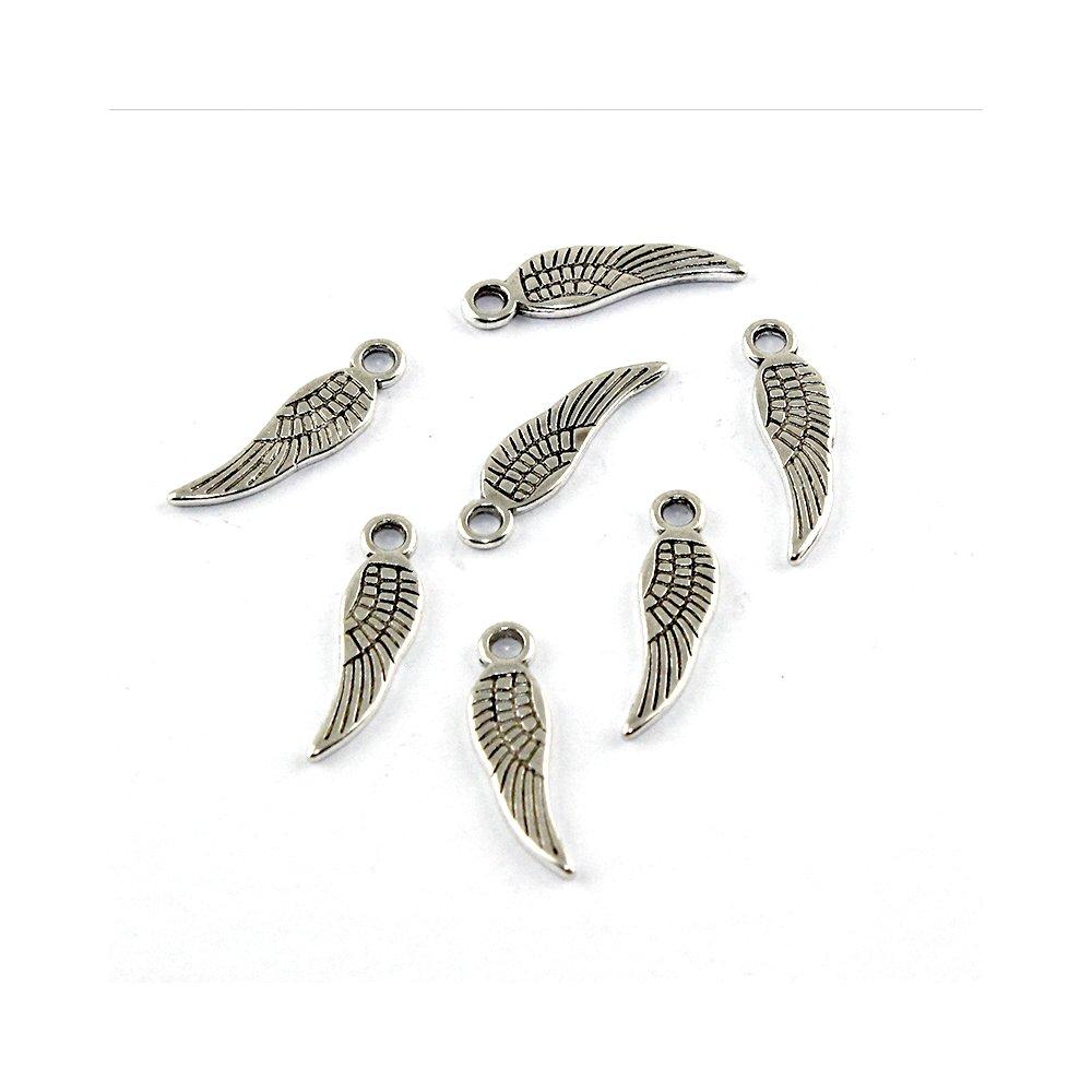 Mosazný přívěsek - stříbrný - křídlo - 7 x 5 x 1 mm - 1 ks