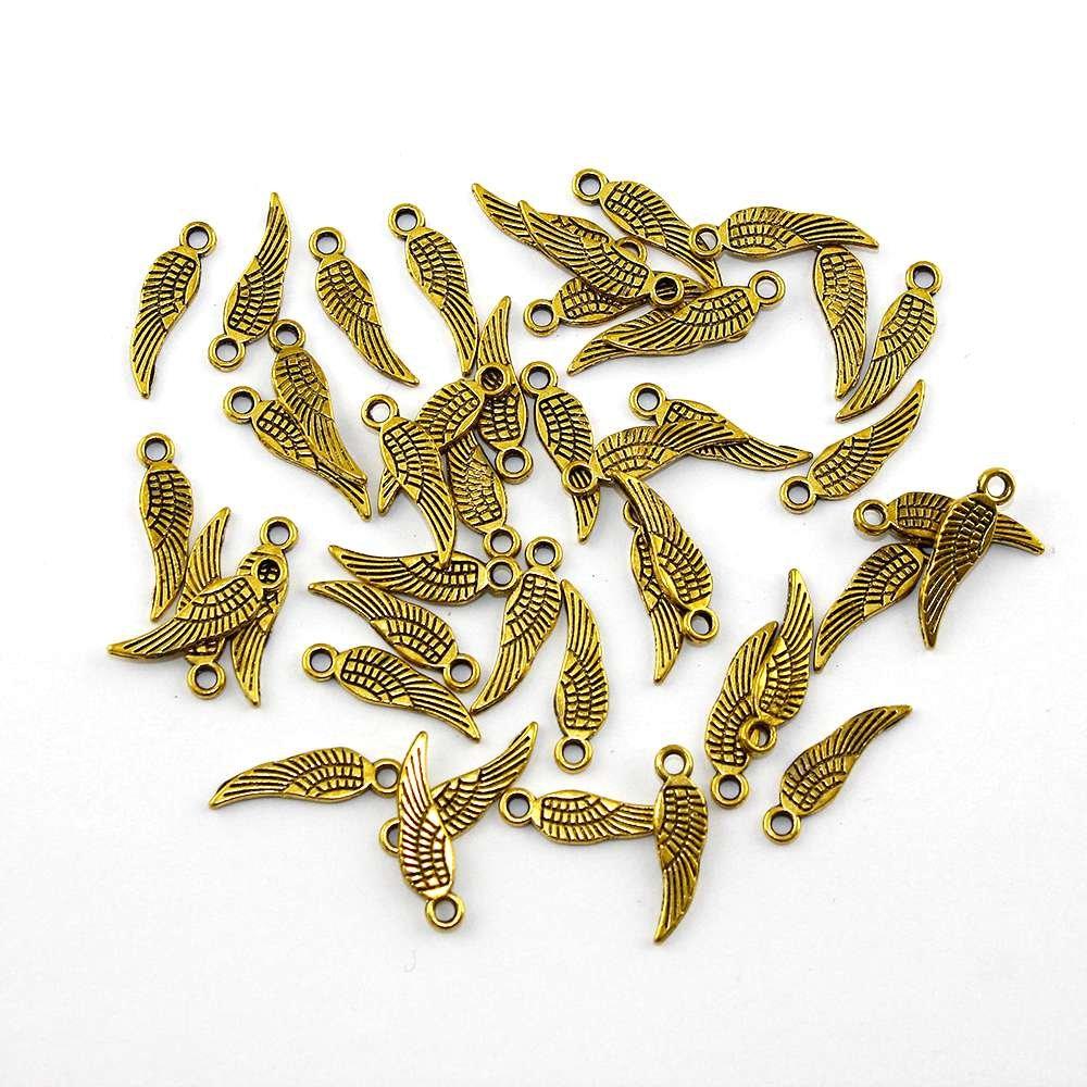 Křídlo - zlaté - 17 x 5 x 1 mm - 1 ks