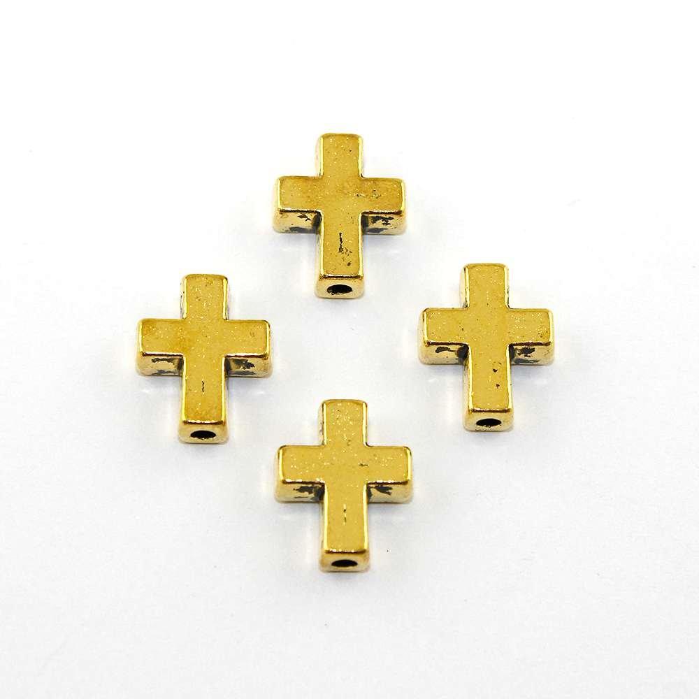 Kovový mezidíl - starozlatý - kříž - 15 x 12 x 5 mm - 1 ks