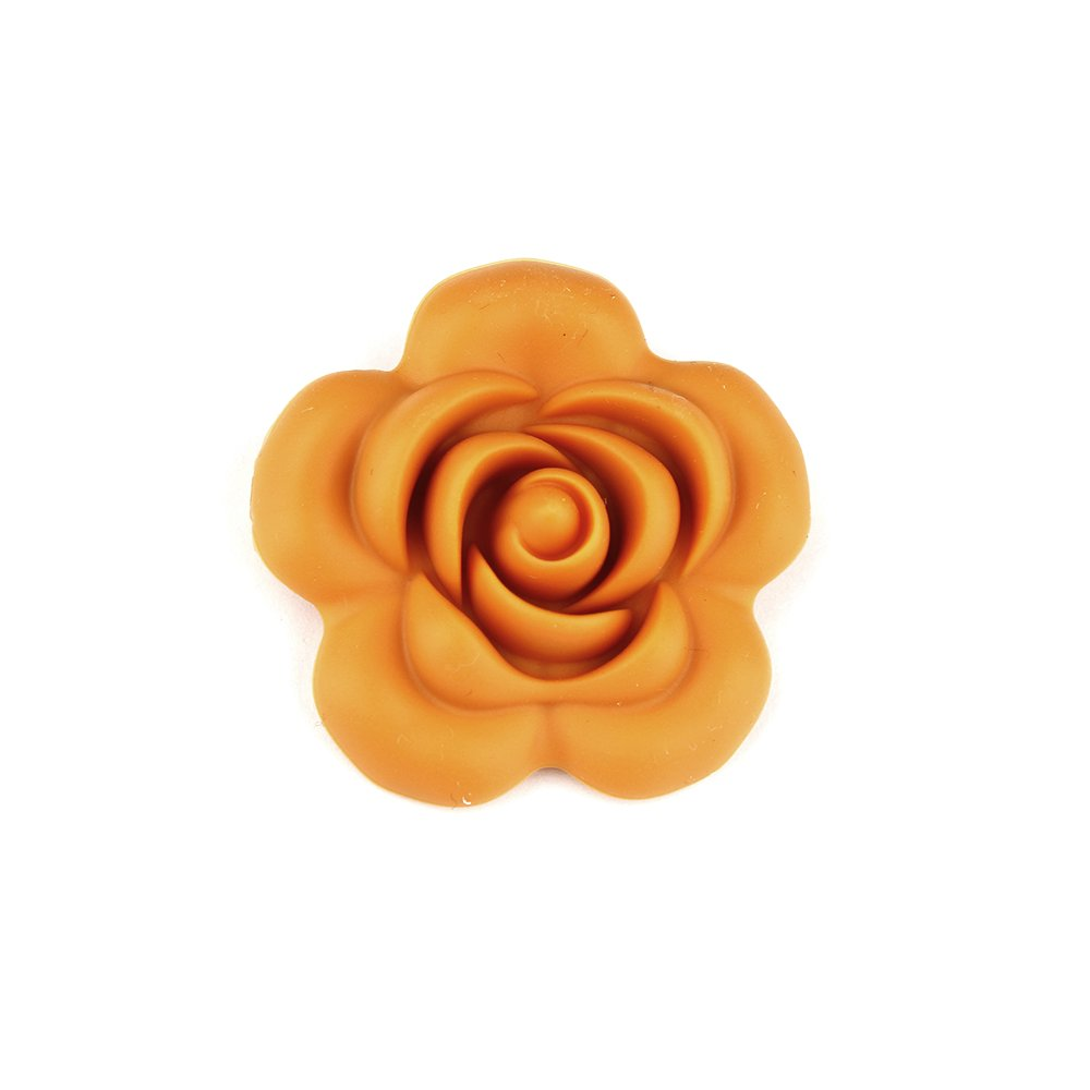 Silikonová růže - hořčicově žlutá - 40 x 40 x 15 mm - 1 ks