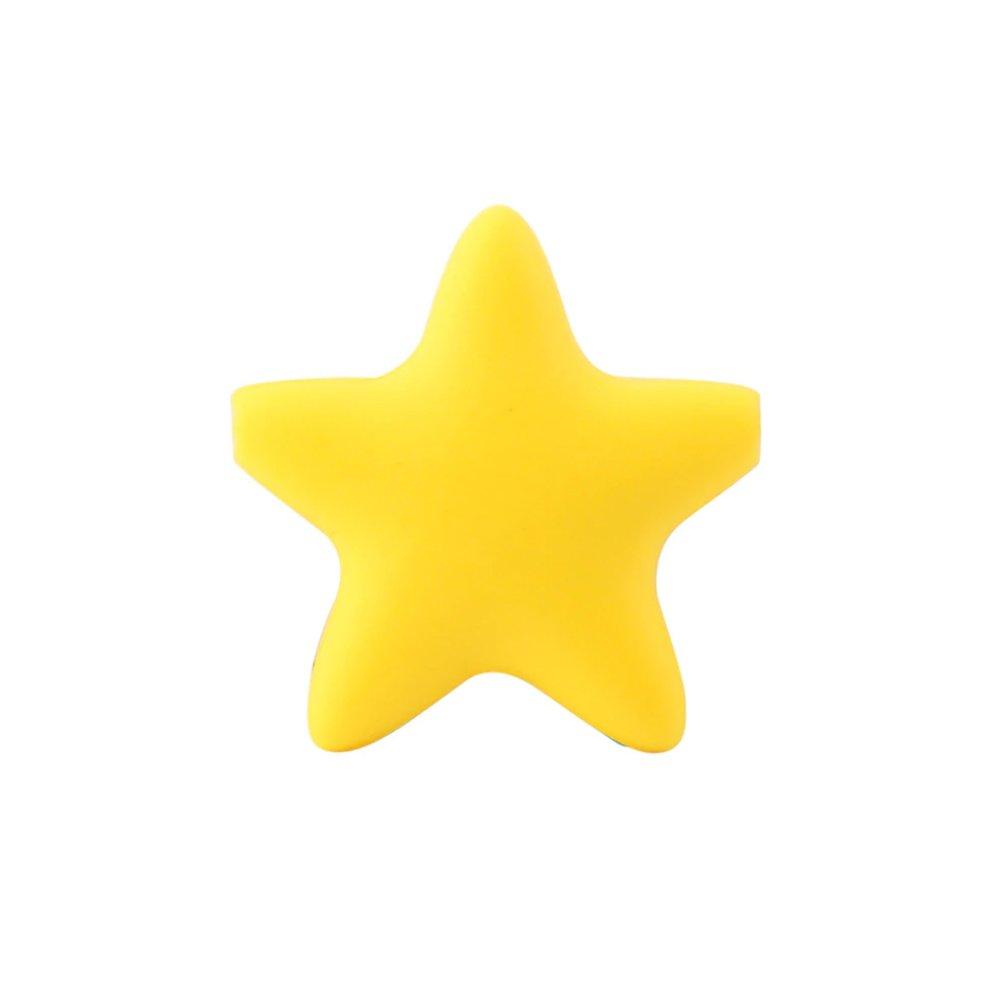 Silikonový korálek - žlutý - hvězda - 37 x 37 x 10,5 mm - 1 ks