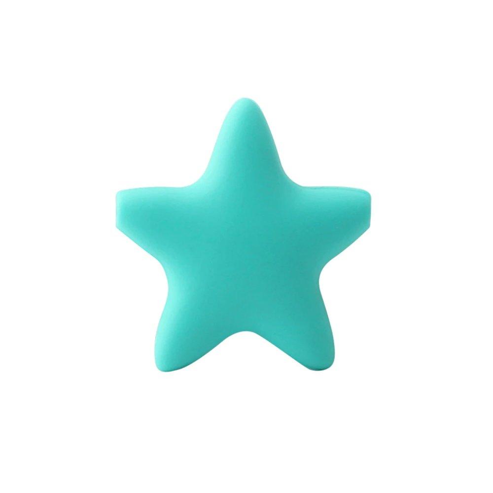 Silikonový korálek - tmavě tyrkysový - hvězda - 37 x 37 x 10,5 mm - 1 ks
