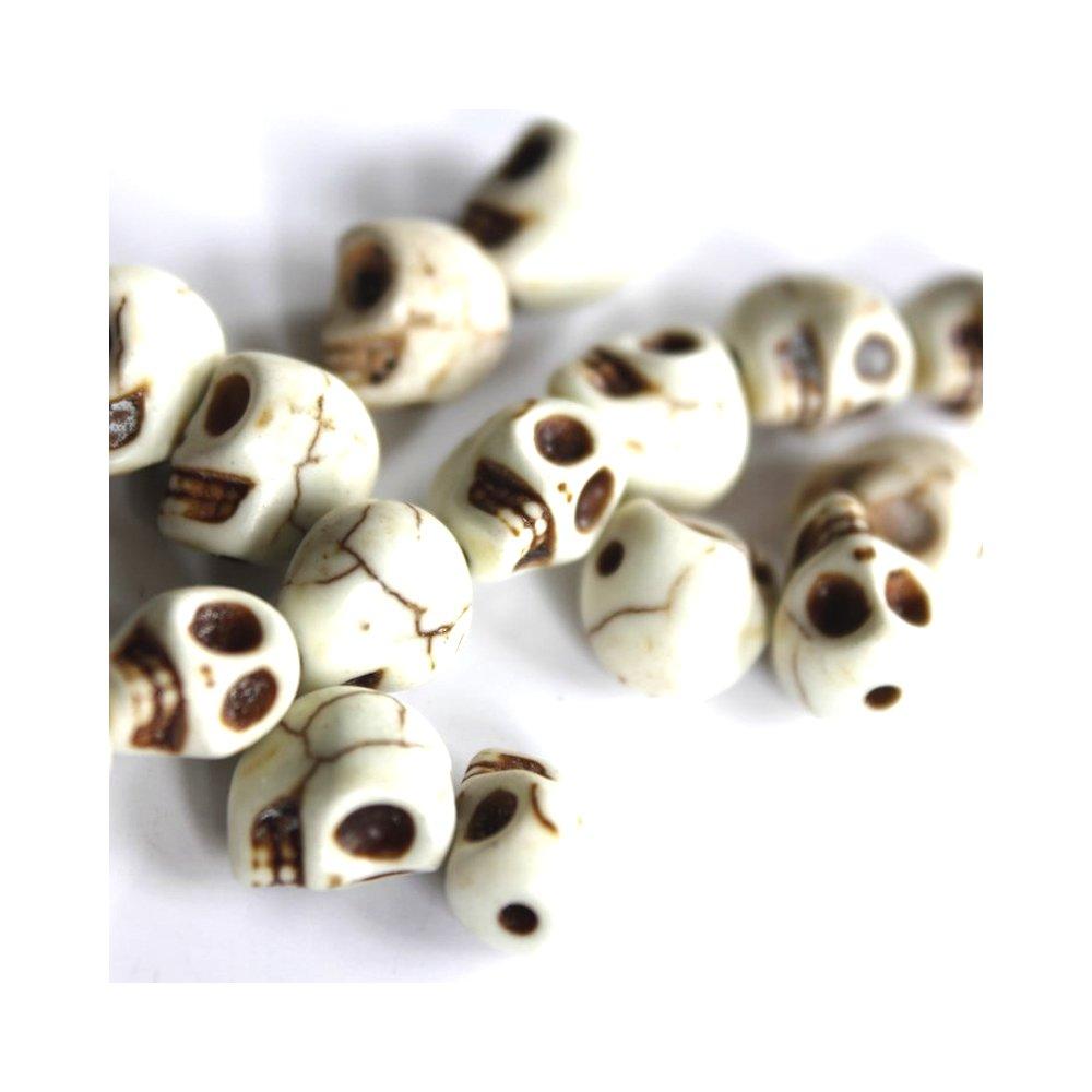 Lebka ze syntetického tyrkysu - bílá - 8 x 6 mm - 1 ks