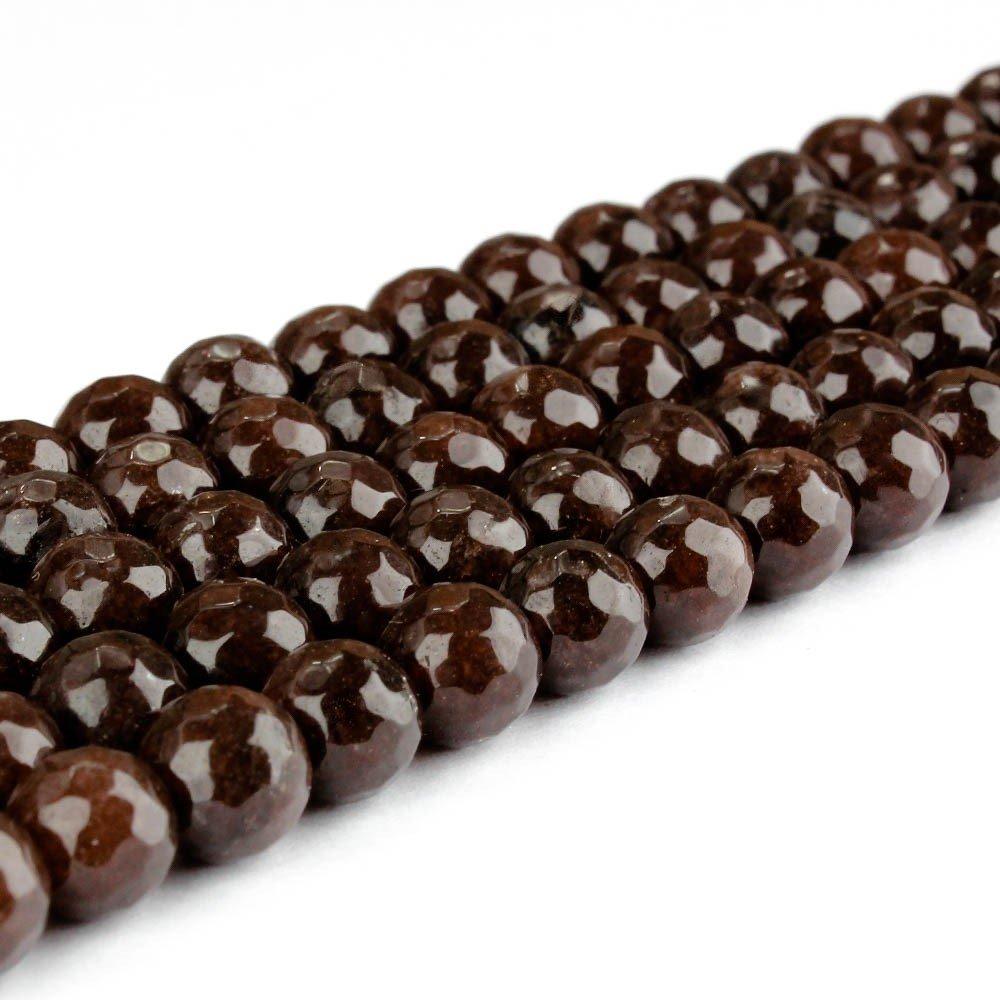 Přírodní bílý nefrit - broušený - čokoládový - ∅ 8 mm - 1 ks