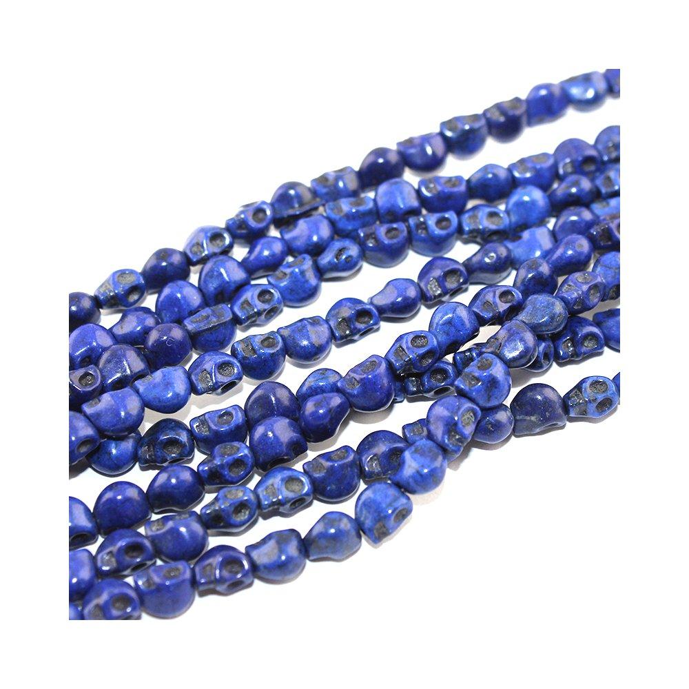 Lebka ze syntetického tyrkysu - modrá - 8 x 6 mm - 1 ks