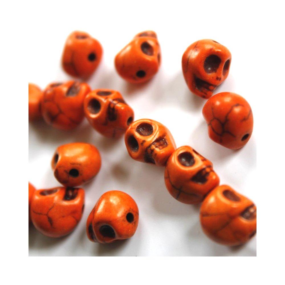 Lebka ze syntetického tyrkysu - oranžová - 9 x 7 mm - 1 ks