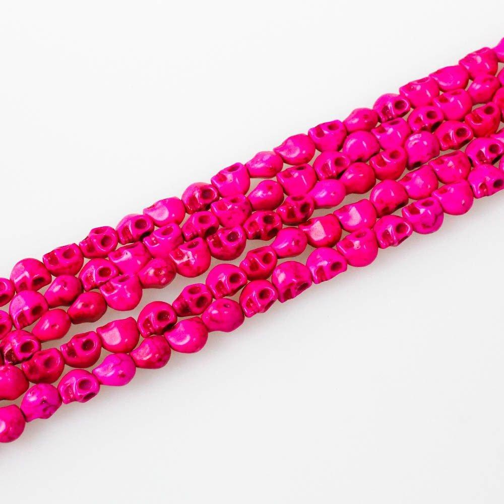 Lebka ze syntetického tyrkysu - růžová - 8 x 6 x 7 mm - 1 ks