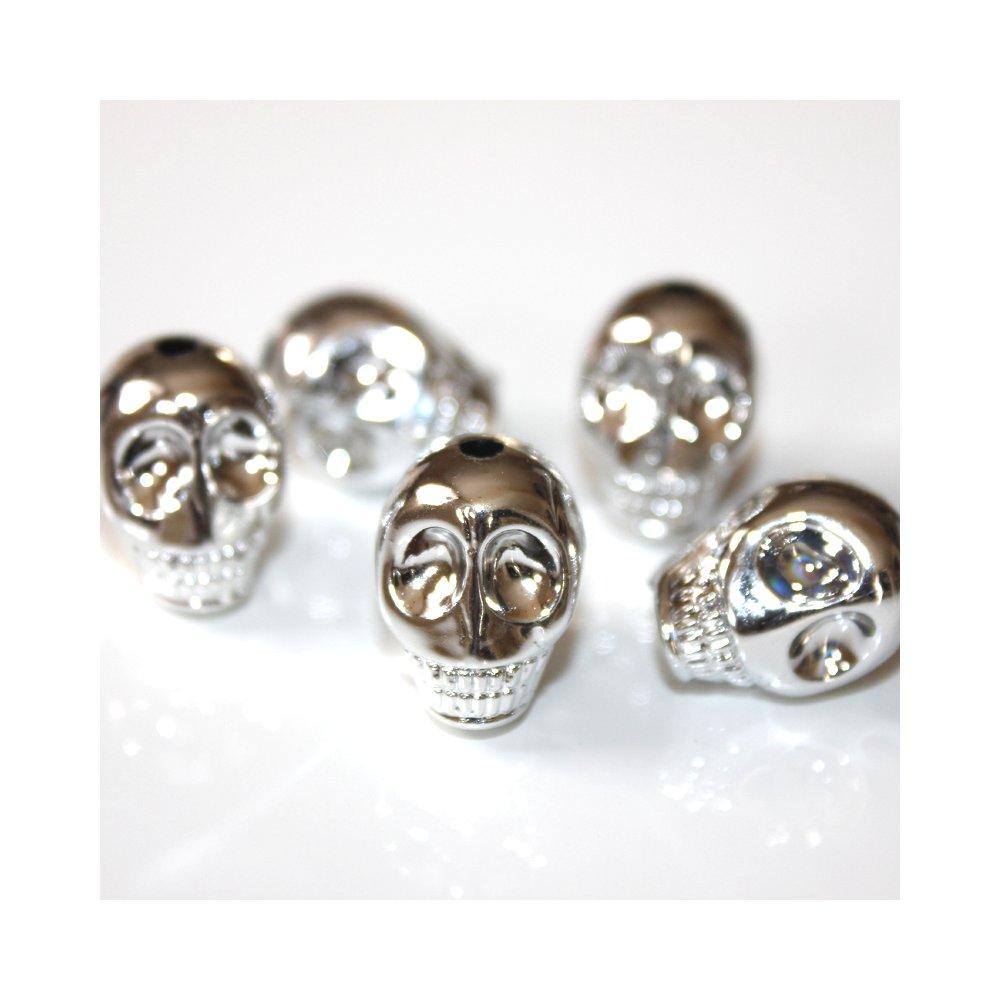 Lebka - stříbrná - 18 x 14 x 16 mm - 1 ks