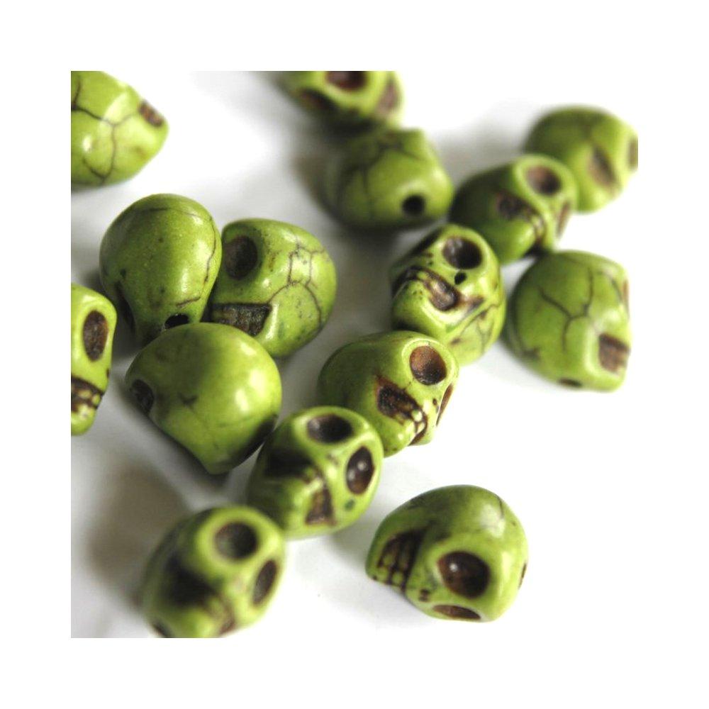 Lebka ze syntetického tyrkysu - zelená - 8 x6 x 7 mm - 1 ks