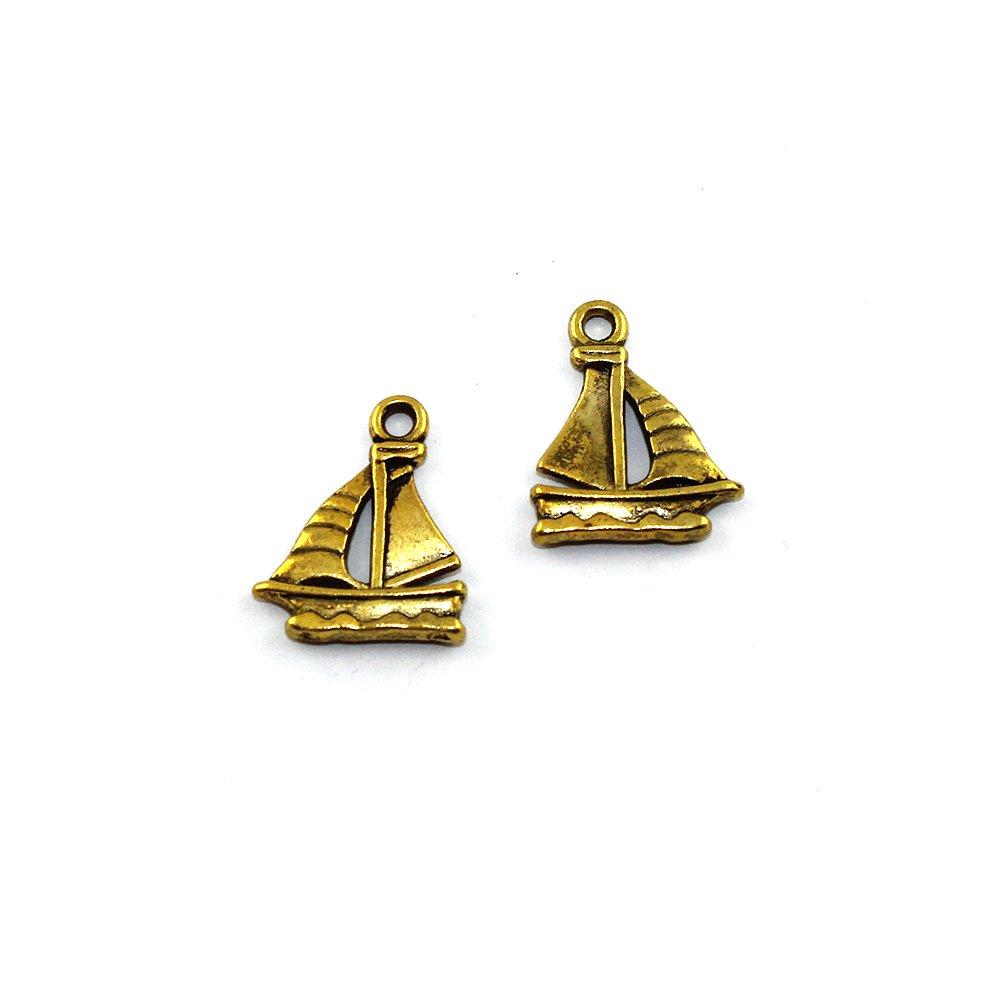 Kovový přívěsek - zlatý - loď - 20 x 16 x 2 mm - 1 ks