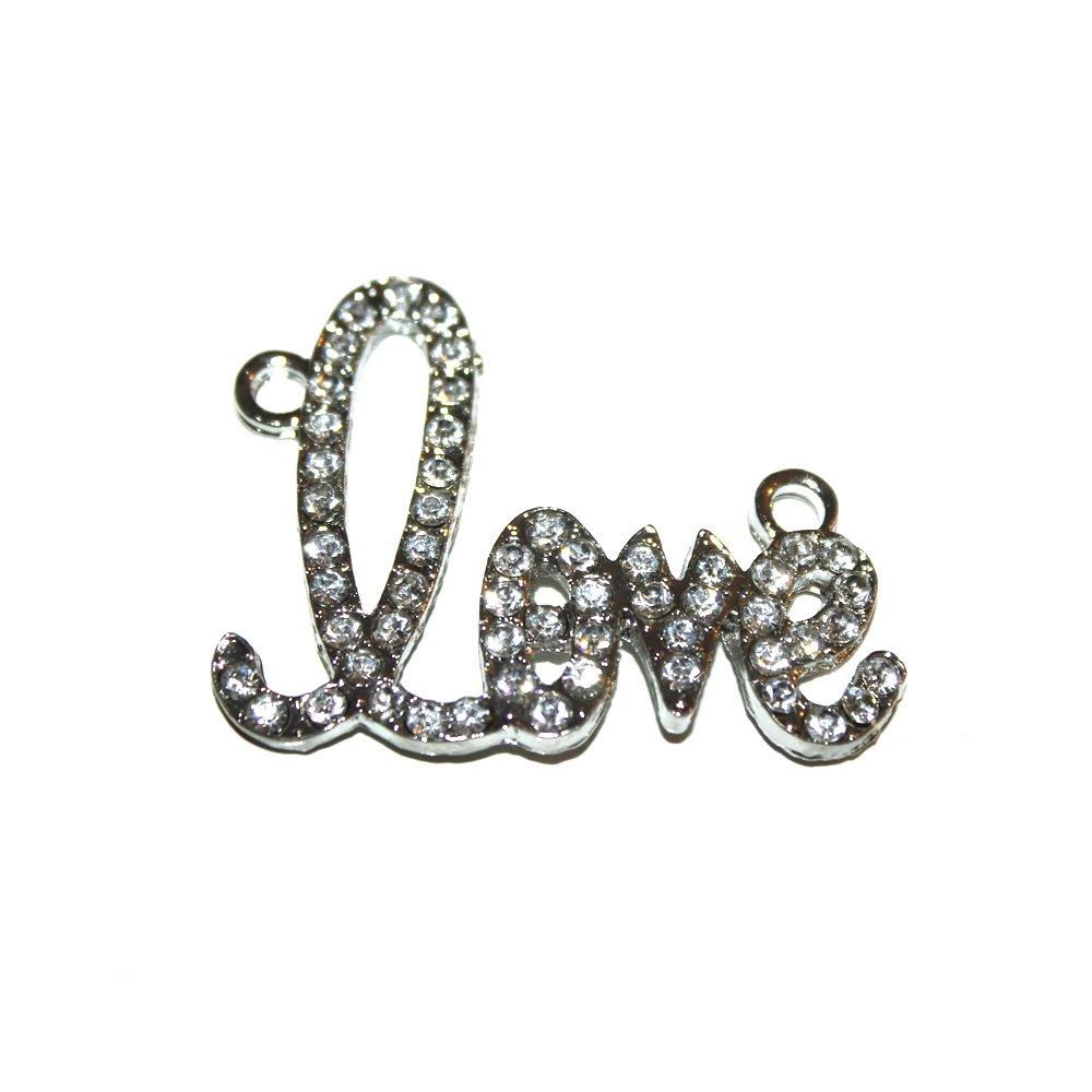 "Kovový mezidíl - stříbrný - ""love"" - 32 x 43 x 3 mm - 1 ks"