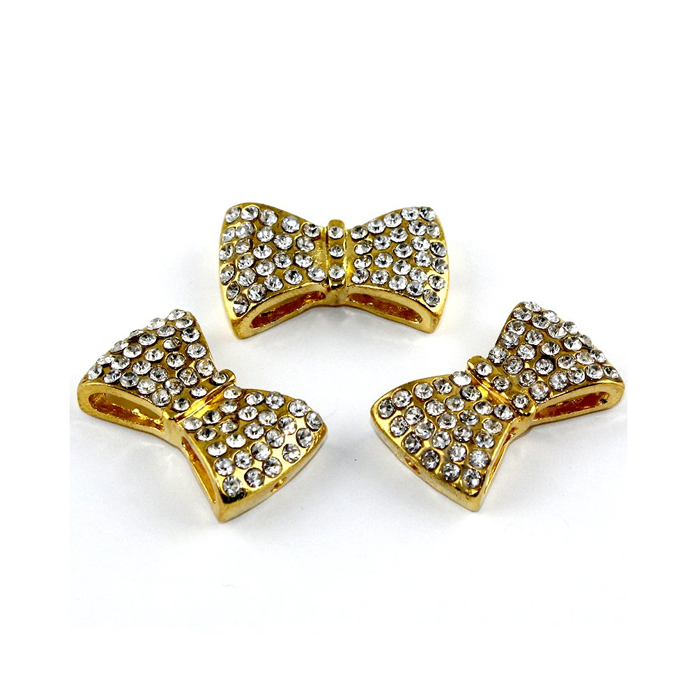 Mašlička s kamínky - zlatá - 28 x 17 x 8 mm - 1 ks