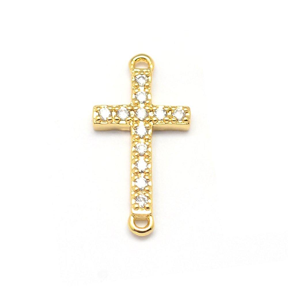 Mosazný mezidíl s kubickými zirkony - kříž - zlatý - 17 x 9 x 2 mm - 1 ks