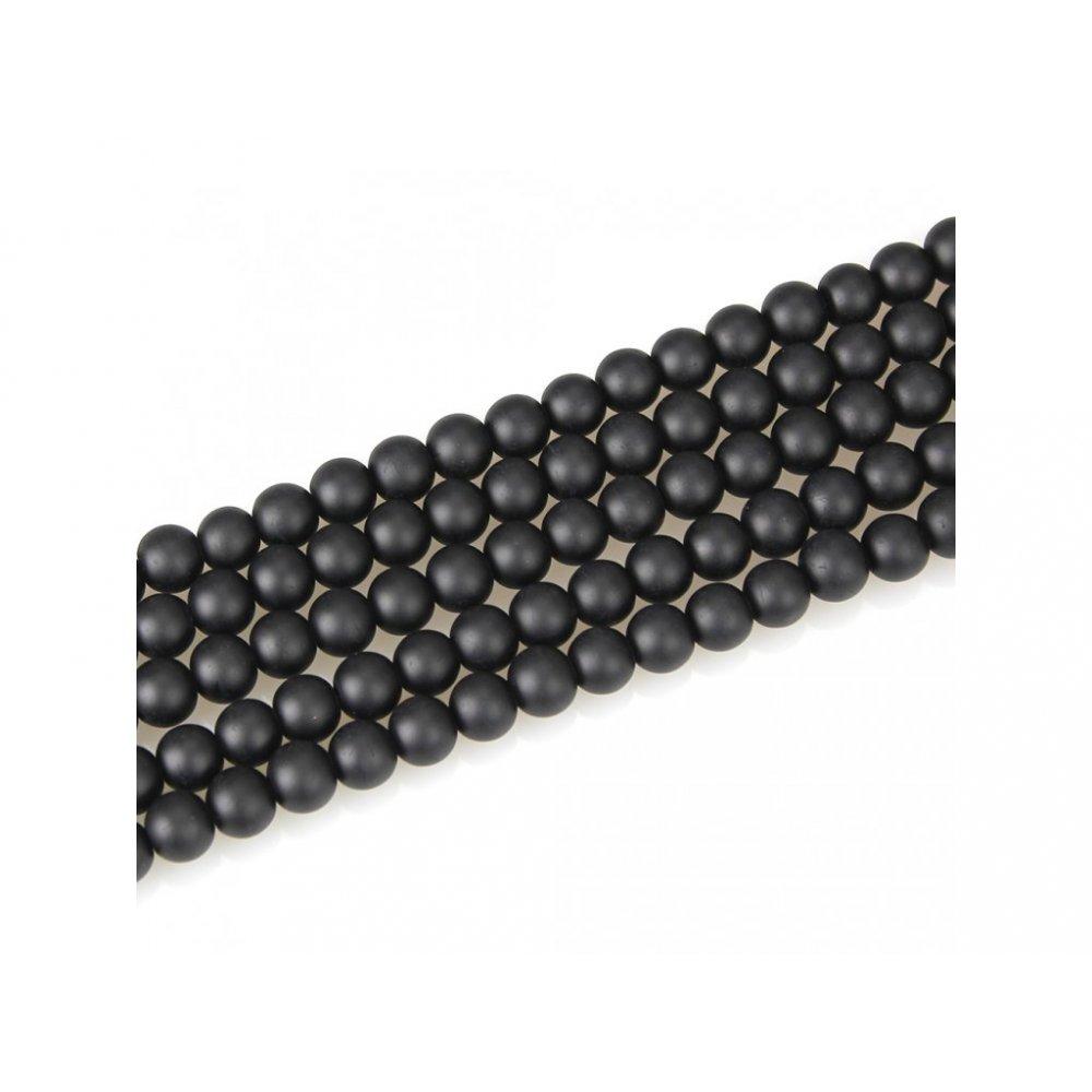 Matné korálky - černé - ∅ 6 mm - 10 ks