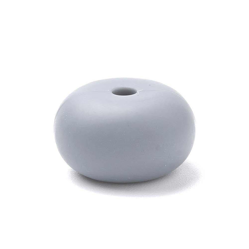 Silikonový korálek - tmavě šedý - kroužek - 14 x 14 x 8 mm - 1 ks