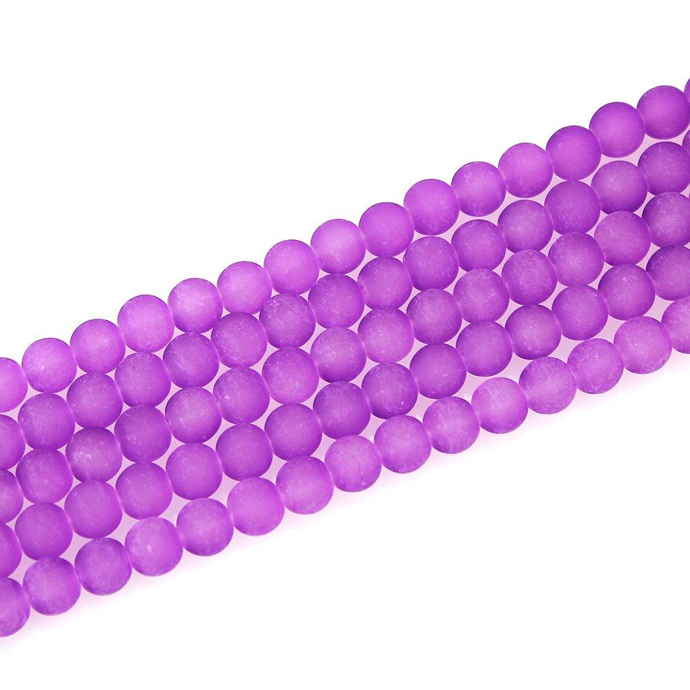 Matné korálky - fialové - ∅ 10 mm - 10 ks