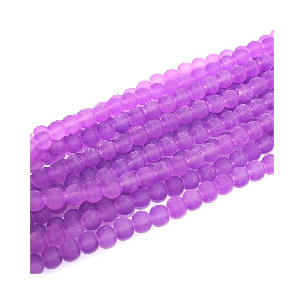 Matné korálky - fialové - ∅ 8 mm - 10 ks