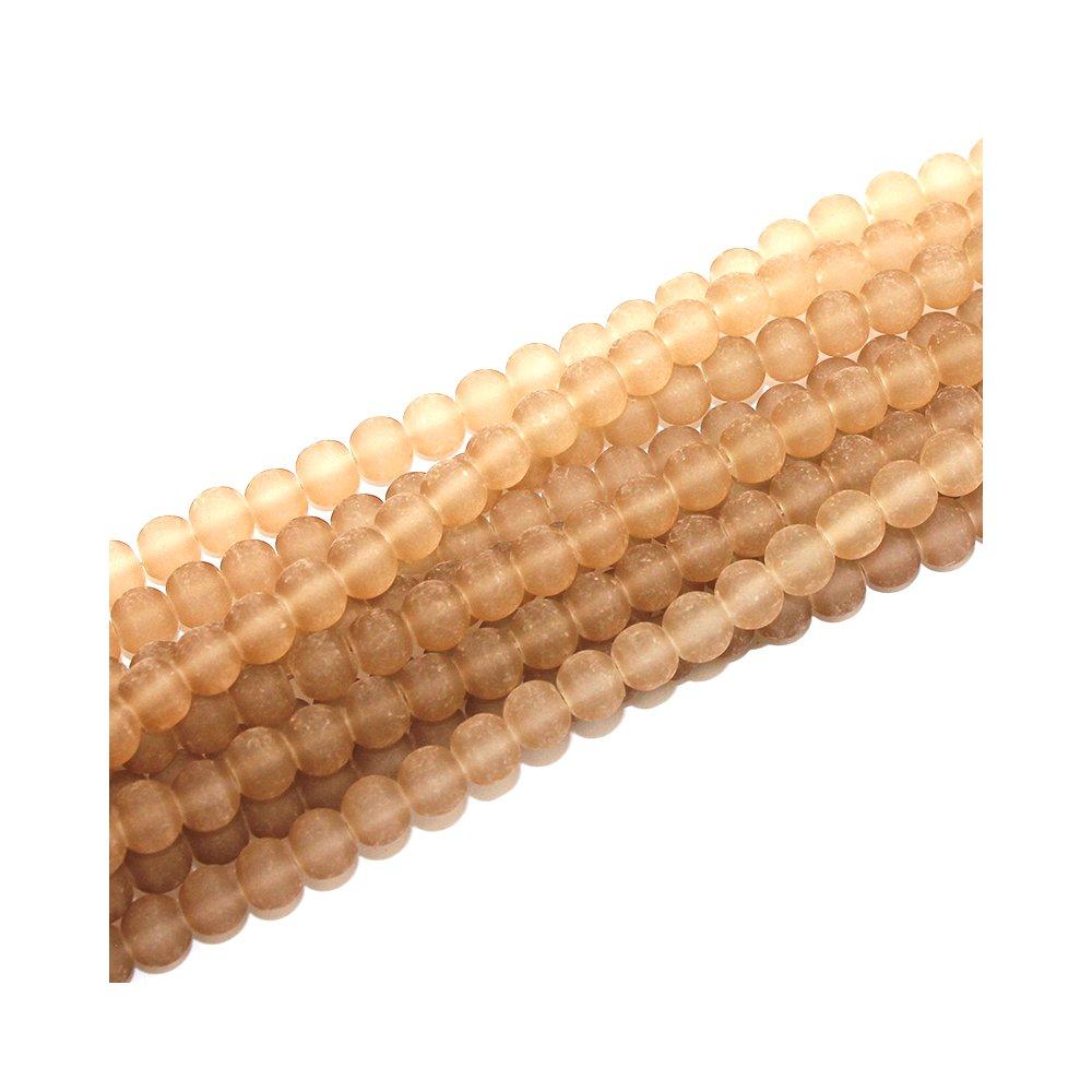 Matné korálky - hnědé - ∅ 6 mm - 10 ks