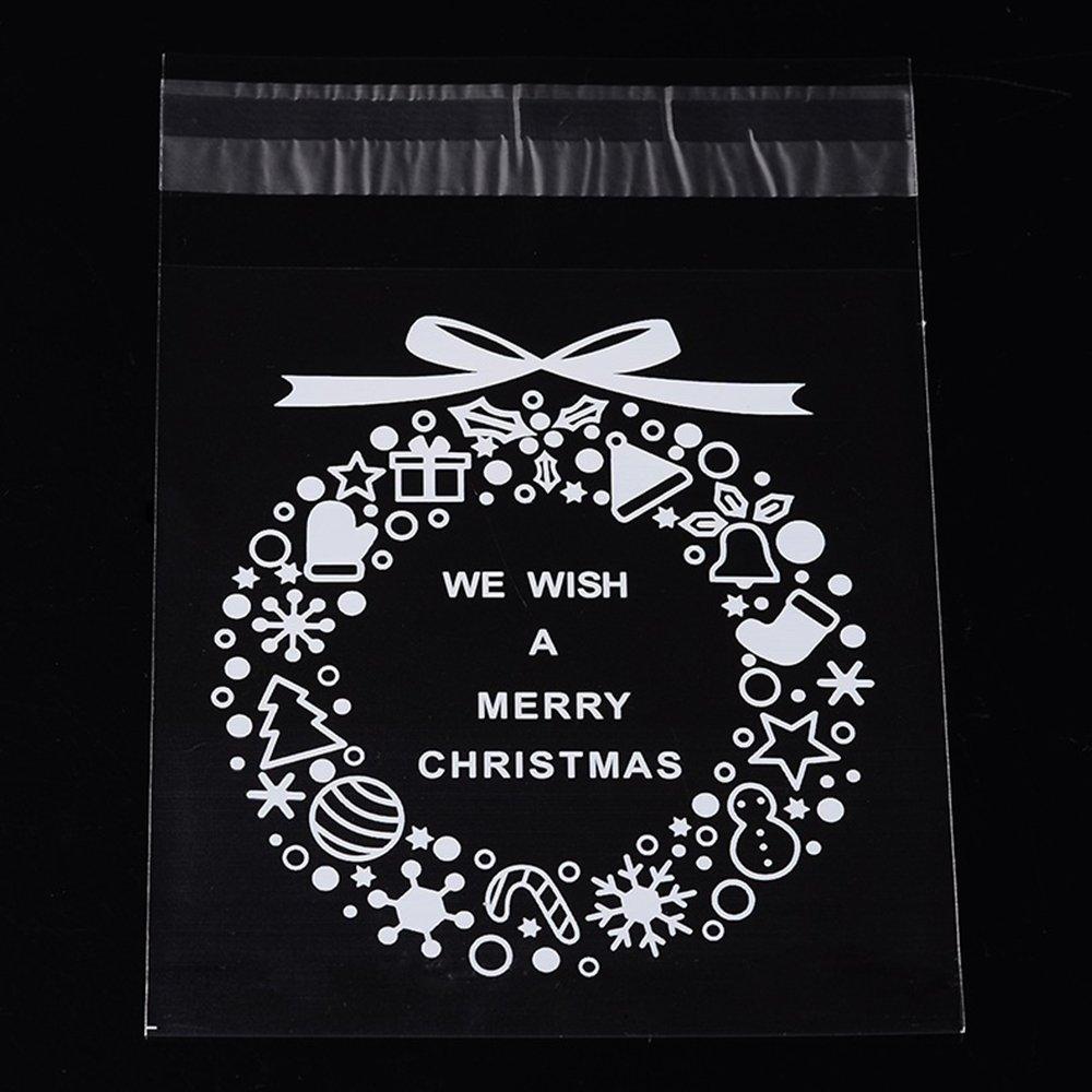 """Celofánový sáček s lepící klopou - """"we wish a merry christmas"""" - transparentní - 14 x 10 cm - 1 ks"""