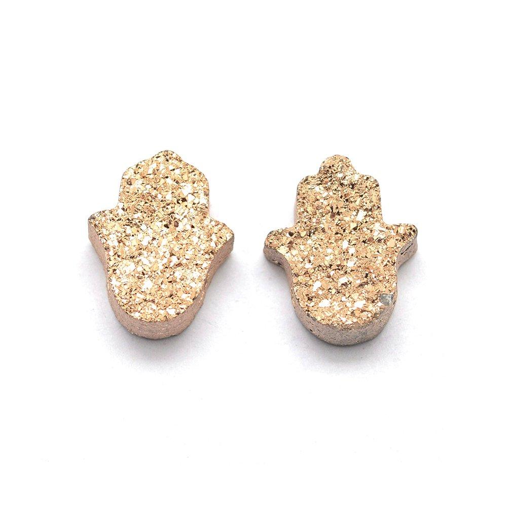 Pokovená drúza z přírodního křišťálu - hamsa - růžově zlatá - 13 x 10,5 x 4,5 mm - 1 ks