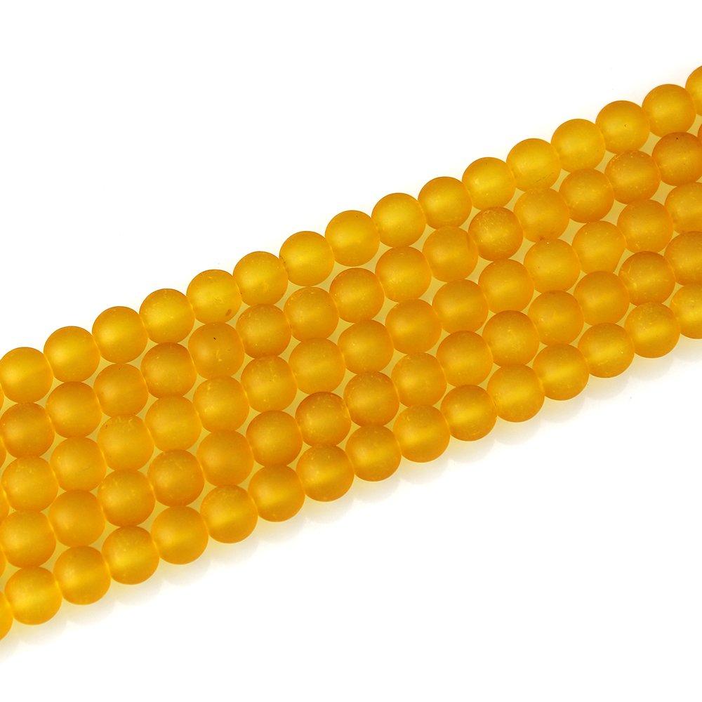 Matné korálky - medově žluté - ∅ 10 mm - 10 ks