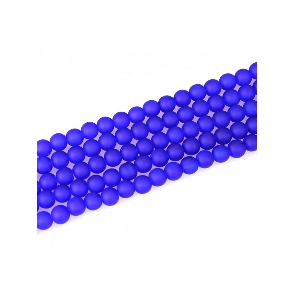 Matné korálky - modré - ∅ 8 mm - 10 ks