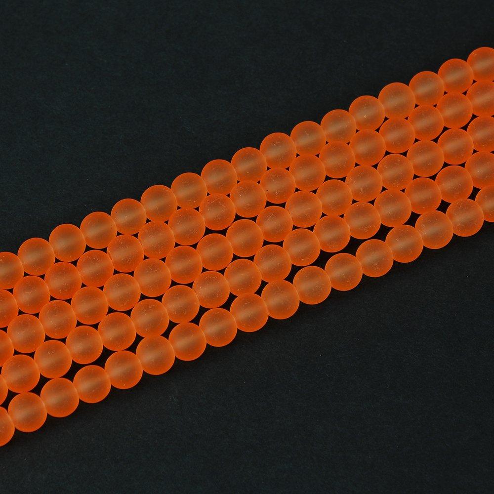 Matné korálky - oranžové - ∅ 10 mm - 10 ks