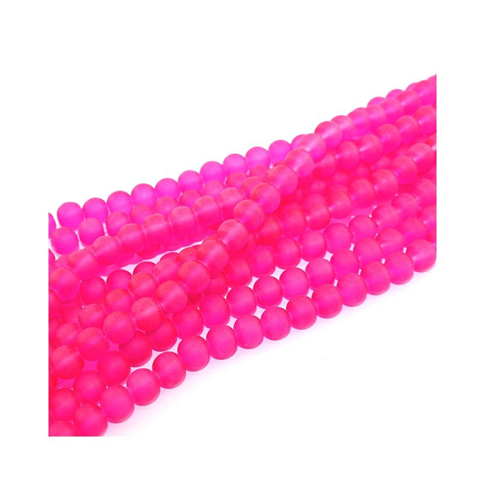 Matné korálky - růžové - ∅ 8 mm - 10 ks