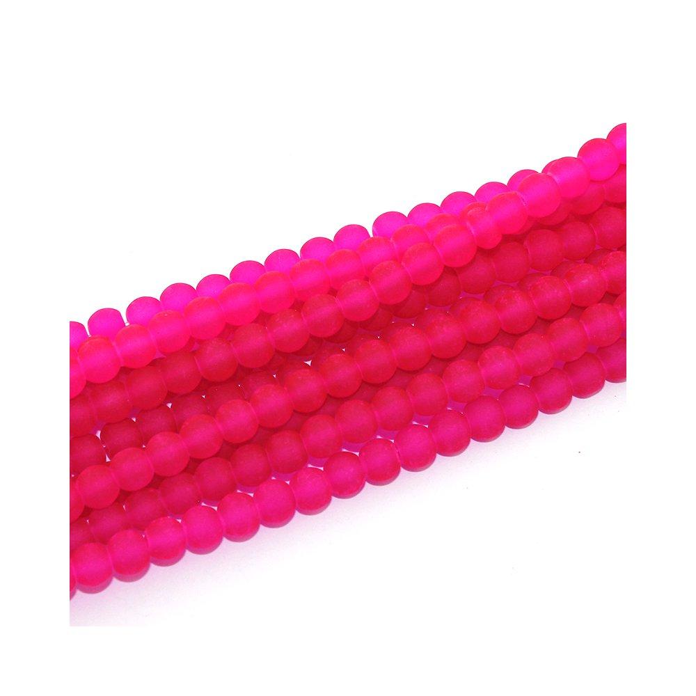 Matné korálky - růžové - ∅ 6 mm - 10 ks