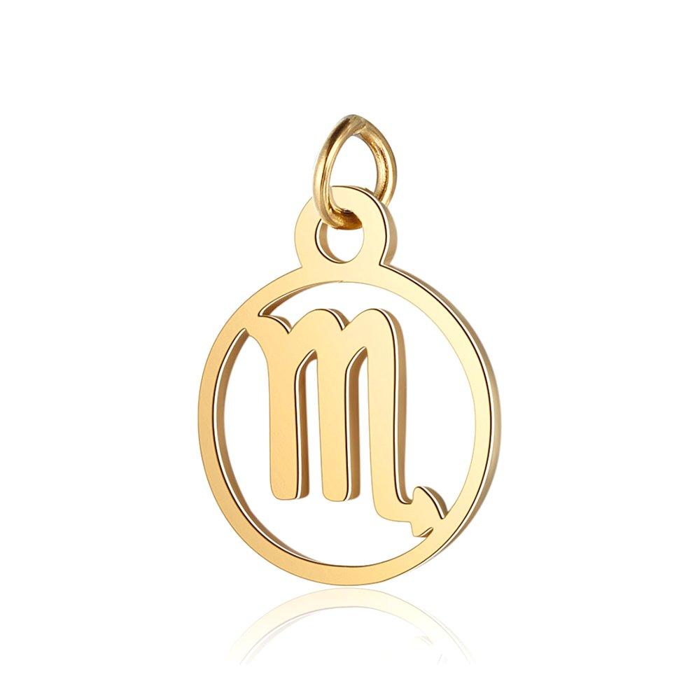 Přívěsek z nerezové oceli - zlatý - znamení zvěrokruhu - štír - 13 x 11 x 1 mm - 1 ks