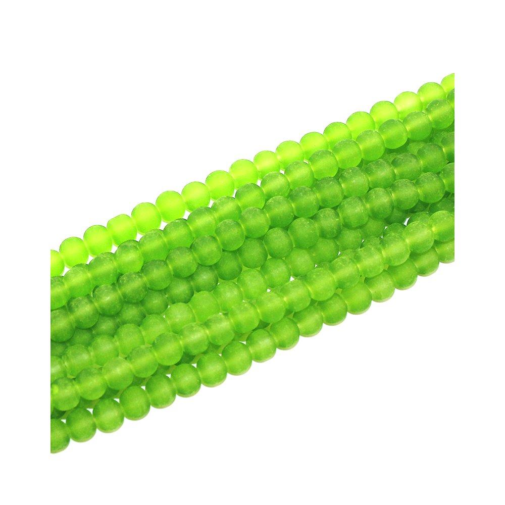 Matné korálky - světle zelené - ∅ 6 mm - 10 ks