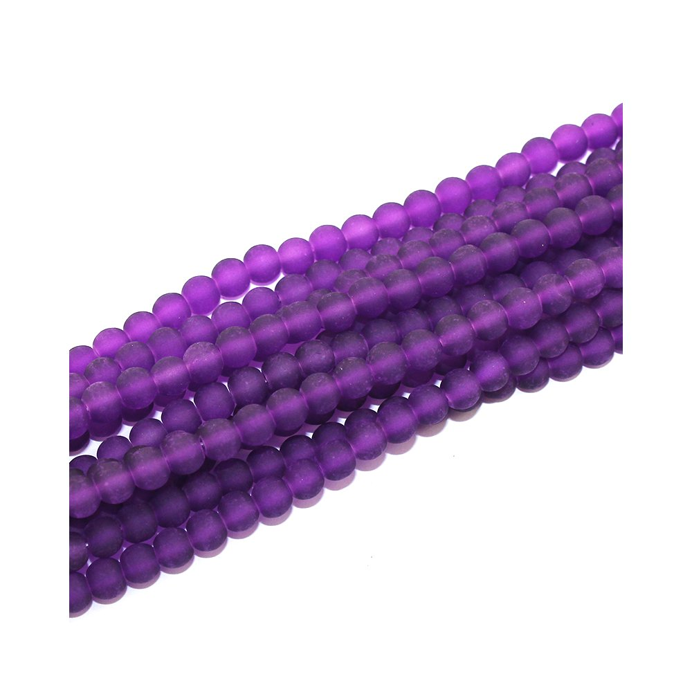 Matné korálky - tmavě fialové - ∅ 6 mm - 10 ks