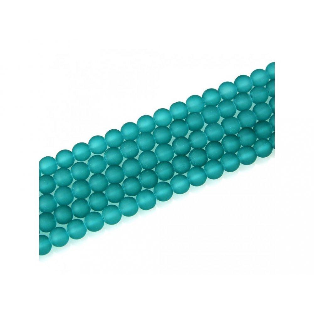 Matné korálky - zelené - ∅ 6 mm - 10 ks