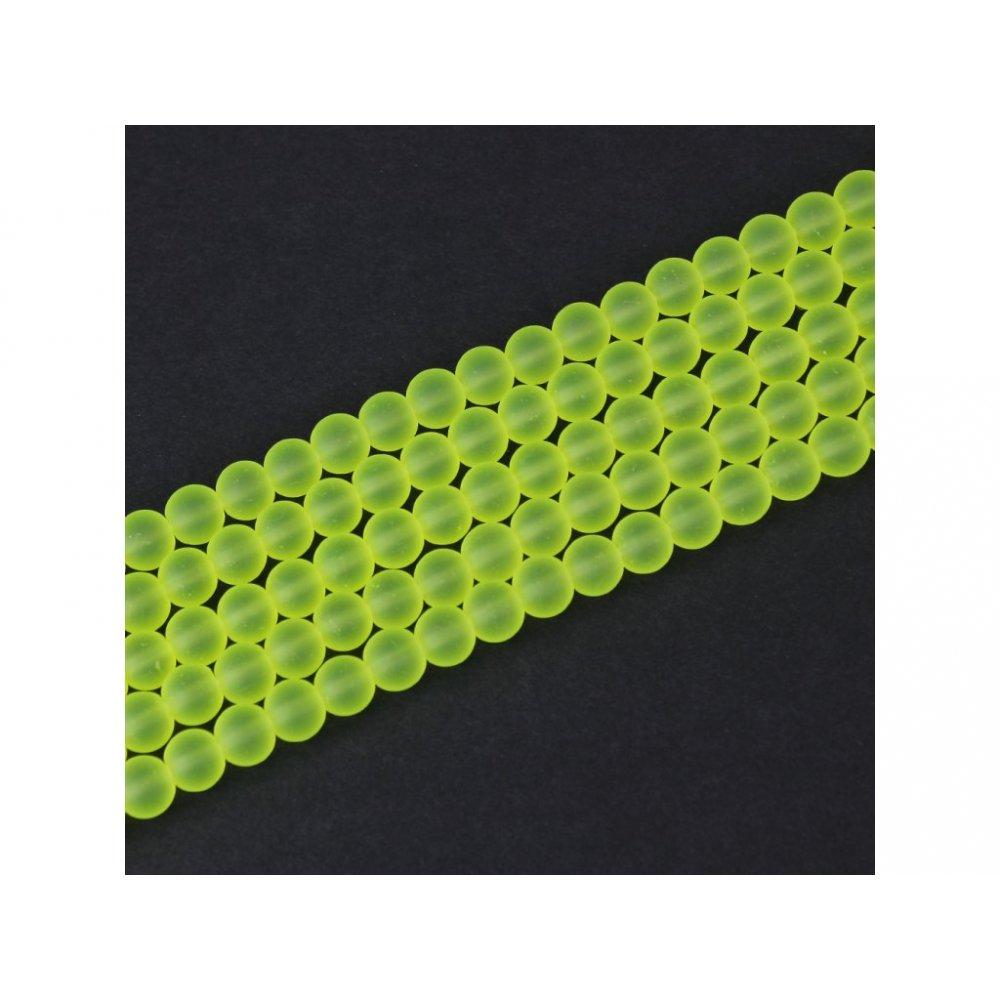 Matné korálky - neonově žluté - ∅ 6 mm - 10 ks