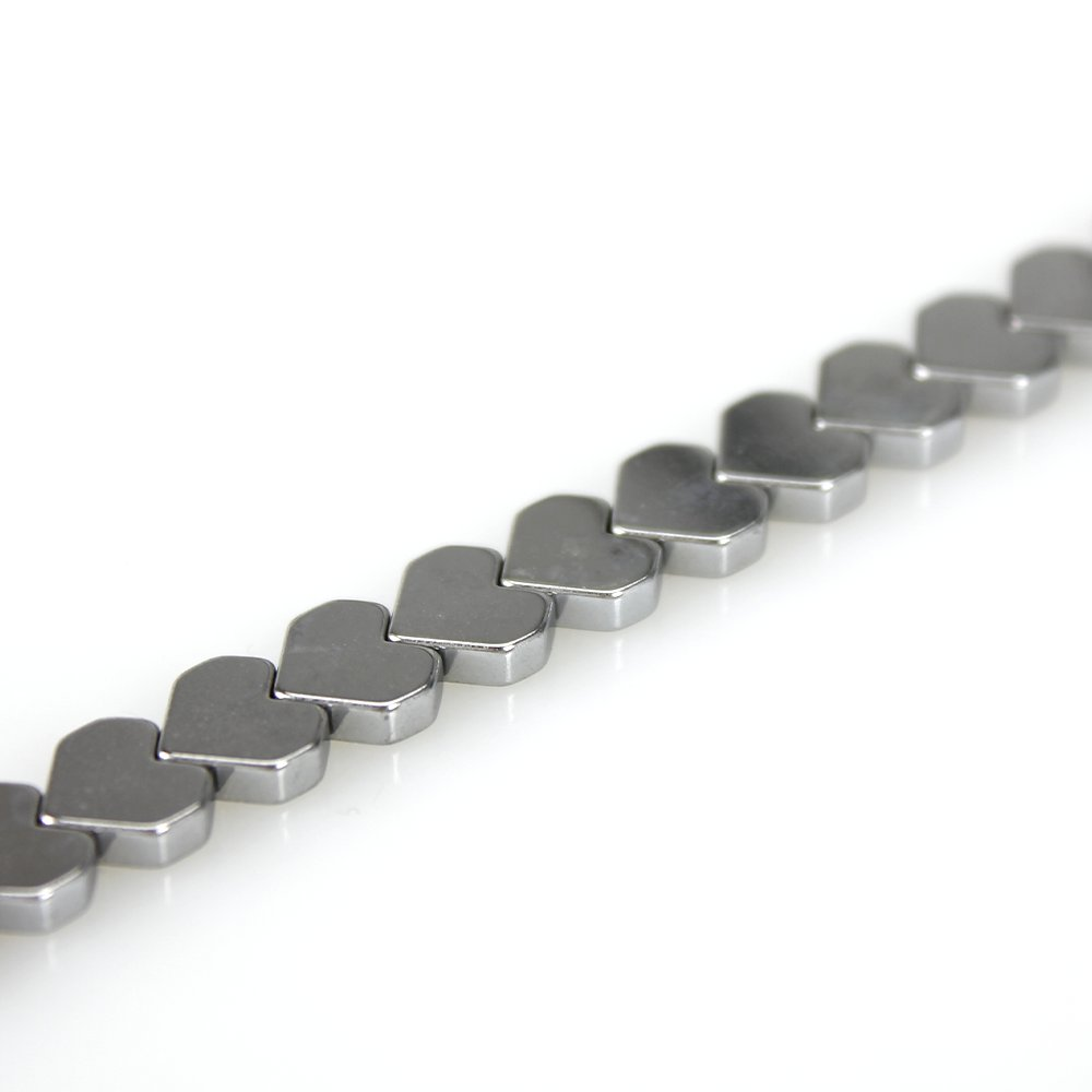 Syntetický hematit - platinový - srdce - třída A - 6 x 6 x 2 mm - 1 ks