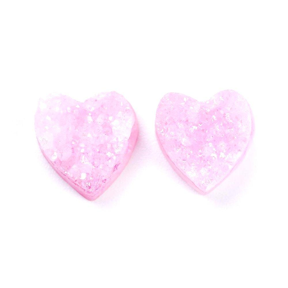 Pokovená drúza z přírodního achátu - růžová - srdce - 10 x 10 x 6 mm - 1 ks