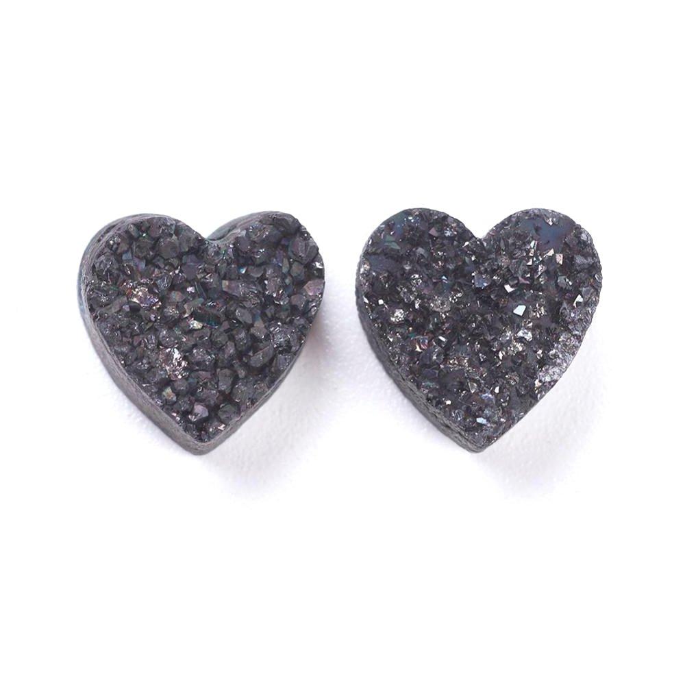 Pokovená drúza z přírodního achátu - černá - srdce - 10 x 10 x 6 mm - 1 ks