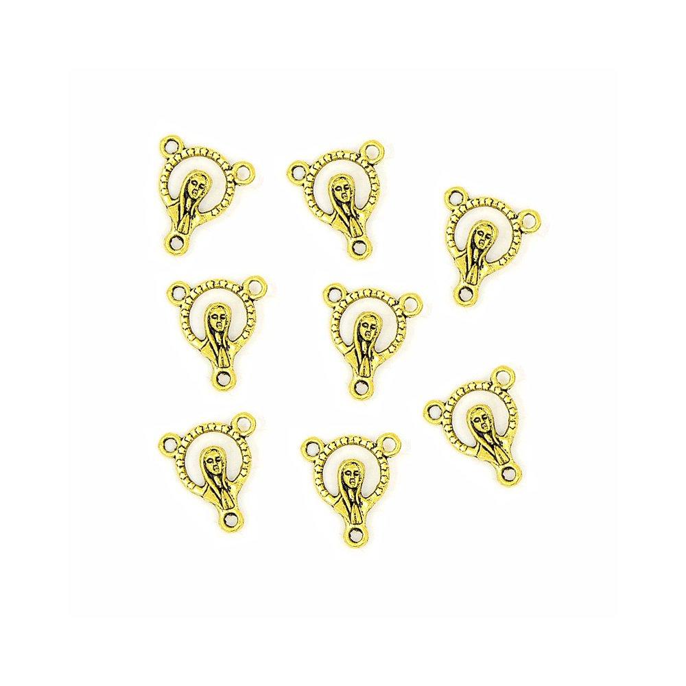 Mezidíl pro růženec - zlatý - 15 x 14 mm - 1 ks